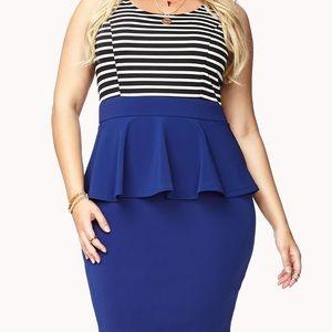 Striped Peplum Tank Dress